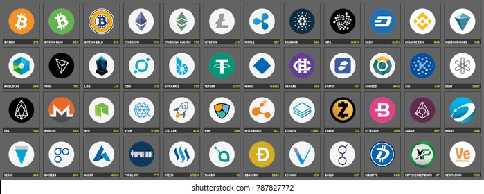 Vector cryptocurrency icons and symbols on dark grey background