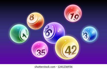 Vector crystal bingo lottery number balls set on dark background