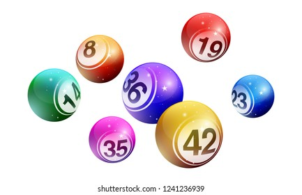 Vector crystal bingo lottery number balls set isolated on white background