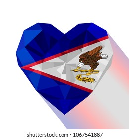 Vector crystal gem jewelry American Samoan heart with the flag of American Samoa. Flat style logo symbol of love American Samoa. South Pacific Ocean. US Flag Day