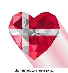 Vector crystal gem jewelry Danish heart with the flag of the Kingdom of Denmark. Flat style logo symbol of love Denmark. June 15 Dannebrog. Europe