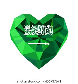 Vector crystal gem jewelry Saudi Arabian  heart with the flag of the Kingdom of Saudi Arabia. Flat style logo symbol of love KSA. Saudi National Day. Unification of the Kingdom. 23 September