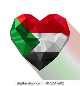 Vector crystal gem Sudanese heart with the flag of the Republic of the Sudan. Flat style logo symbol of love North Sudan.