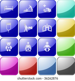 Vector of crystal modern icons, also providing background in other colors, making it easy to change the color of icons