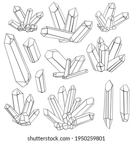vector crystals, line drawing gems, druses of minerals and stones