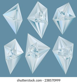 Vector crystals on blue background.
