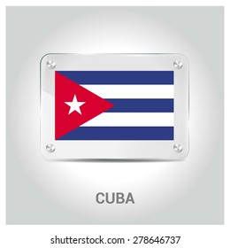 Vector Cuba Flag glass plate with metal holders - Country name label in bottom - Gray background vector illustration