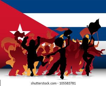 Vector - Cuba Sport Fan Crowd with Flag