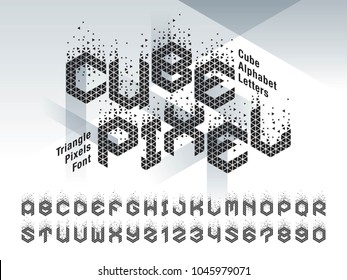 Vector of Cube Alphabet Letters and numbers, Abstract Triangle Pixels stylized fonts, Modern Cubic Letters set for Design, Technology, Hi-tech, digital, geometric