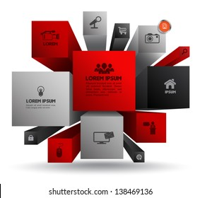 Vector cube box for business concepts with  icons / can use for info-graphic / loop business report or plan / modern template / education template / business brochure /  system diagram