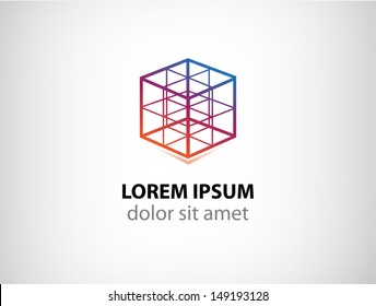 vector cube construction icon for your company, abstract logo for company