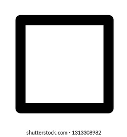 Vector cube icon, black and white, empty cube illustration