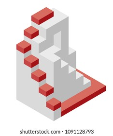 Vector cube shape evoking the ascending staircase. Minimalistic block like architecture stairs from aerated concrete. Master isolated illustration, isometric exploration industry icon symbol, white ba