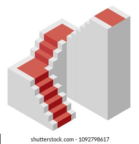 Vector cube shape evoking the ascending staircase. Minimalistic block like architecture stairs from aerated concrete, red carpet. Master isolated illustration, isometric exploration icon symbol