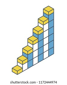 Vector cube shape evoking ascending staircase. Oulined minimalistic block like architecture stairs from aerated concrete. Master isolated illustration, isometric exploration icon symbol