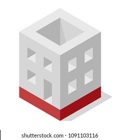 Vector cube shape evoking the rough construction of house. Minimalistic block like building from aerated concrete. Master isolated illustration, isometric construction industry icon symbol, white back