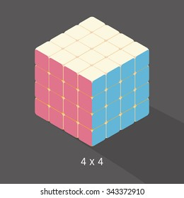 vector cube toy puzzle, 4x4 square