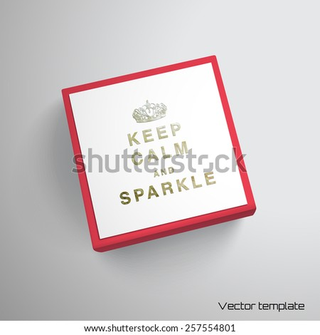Keep Calm Template | Vector Cubic Box Template Inscription Keep Stock Vector Royalty