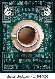 vector cup of coffee on blackboard menu