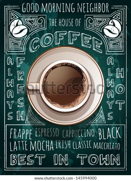 vector cup of coffee on blackboard menu