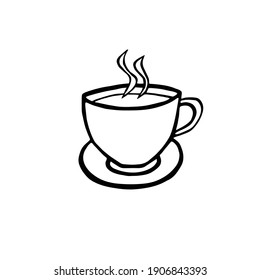 Vector cup of tea or cup of coffee isolated on white background. Hand-drawn. Flat design.