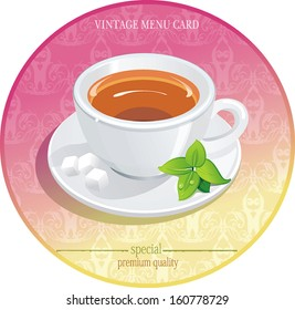 Vector Cup of tea with mint on vintage Background