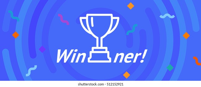 Vector cup. Thin line victory bowl. Trophy super bowl icon. White super cup isolated on blue background. Triumph prize. Victory trophy icon. Trophy sign symbol. First place award. Reward. Promotion.
