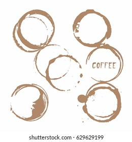 Vector cup traces and spots collection. Coffee stains illustration on white background isolated. Splash and blots concept for grunge design