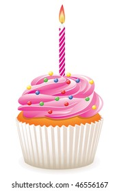 vector cupcake with burning candle