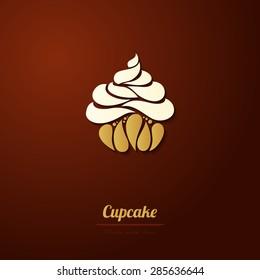 Vector cupcake icon logo Abstract cupcake illustration