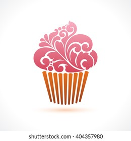 Vector cupcake icon logo Abstract cupcake illustration. Ornamental pattern cupcake with pink cream isolated on white background