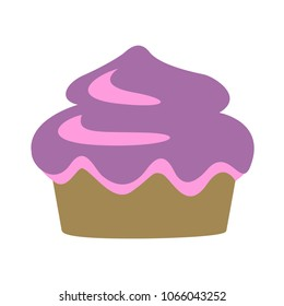 vector Cupcake illustration - dessert icon, delicious muffin sweet