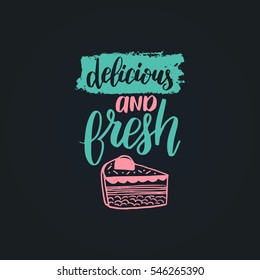 Vector Cupcake With Love lettering  logo, badge. Calligraphy with cookie Illustration on black background for prints, cards, posters, products packaging, branding.