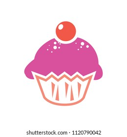 vector cupcake muffins - dessert illustration, bakery sweet cream - delicious cup