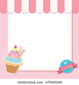 Vector of cupcake pink cafe design for menu template with logo sign.