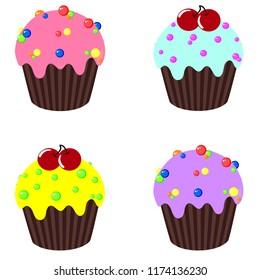 Vector cupcake set. vector illustration