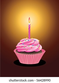 vector cupcake with sprinkles and burning candle