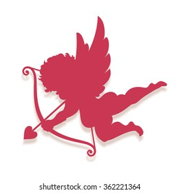 Vector Cupid silhouette isolated on white.