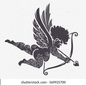 Vector Cupid silhouette with tattoos. Retro stiled ink art.