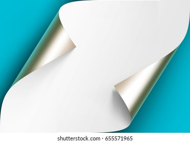 Vector Curled Metalic Platinum Corners of White paper with shadow Mock up Close up Isolated on Blue Turquoise Background