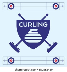 A vector curling badge featuring a rock and two crossed brooms in the background.