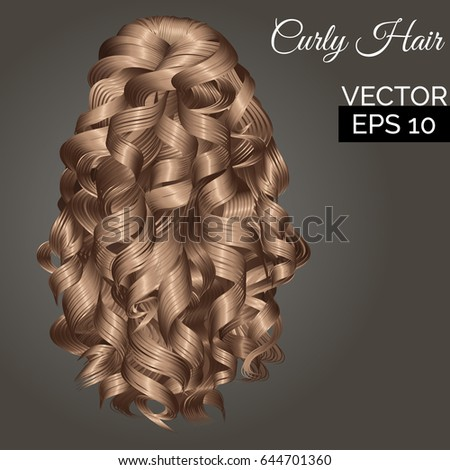 Vector Curly Hair Back View Beautiful Stock Vector Royalty Free