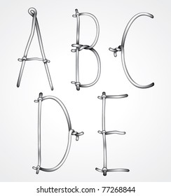Vector curly wire font:letters a b c d e