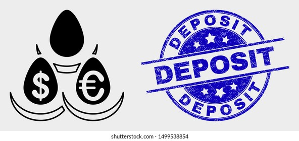 Vector currency deposit eggs pictogram and Deposit seal stamp. Red rounded distress seal stamp with Deposit text. Vector combination in flat style. Black isolated currency deposit eggs pictogram.