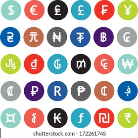 Vector currency symbols (world money icons), flat, modern bright and colored