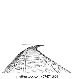 Vector Curved endless Train track. Sketch of Curved Train track. Outlines. 3