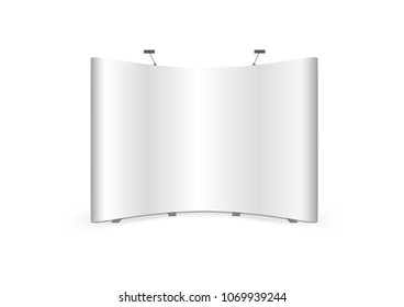 Vector Curved Fabric Tension Pop Up Trade Show Stand isolated on white background