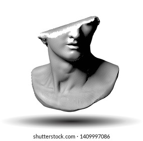 Vector curved line halftone fragment of colossal head sculpture of classical style from 3d rendering isolated on white background.