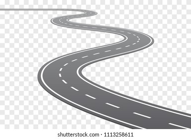 Vector Curved road with white lines in perspective view