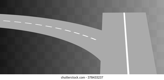 Vector  Curved road with white markings on transparent. illustration 4